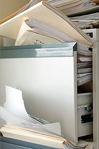 stuffed filing cabinet